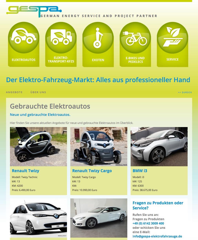 GESPA Gebrauchtwagenmarkt Elektrofahrzeuge